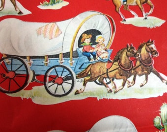 Retro Western Wrapping Paper with Cowboys and Cowgirls
