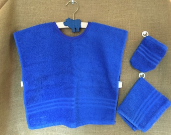 Montessori Apron Set in Royal Blue Terrycloth (for Practical Life and Water Activities)