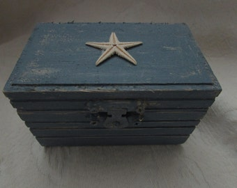 Nautical Blue Beach  Nautical Coastal Style Wedding Ring Box Starfish