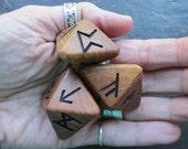 Unique and Exclusive - Rune Dice - in Antique English Elm Wood. Set 100.