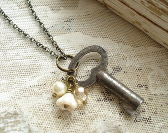 Antique Key Necklace. Vintage Skeleton Key Necklace. Cream Beaded Boho Necklace. Sweet & Shabby Rustic Garden Necklace. Eco Friendly Gift.