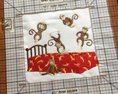 RESERVED for Donna 5 Little Monkeys - ready to sew or frame 10 inch square - embroidered block