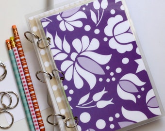 Planner Cover, 6 x 9 Journal Binder, Kalocsai, Purple and Green