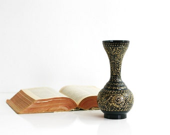 Vintage Etched Brass Gold and Black Enameled Vase from India