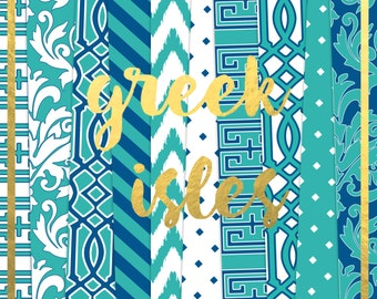 Buy2Get1Free with Code XMASINJULY! Greek Isles Digital Paper Pack (Instant Download)