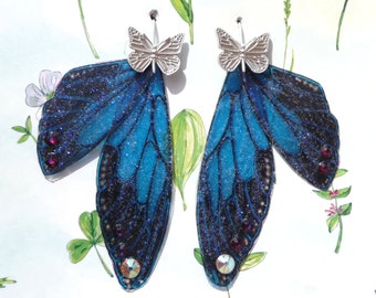 Blue Fairy Wings with Butterfly Sterling Silver Hook * Whimsical * Faery