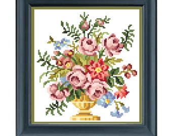 Rose vase.  Cross stitch pattern. Instant download PDF.