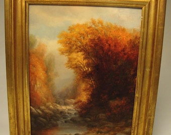 1890 Signed American Oil Painting:  Charles Franklin Pierce (1844-1920) Luminous Forest in Autumn - 19th c. New England, Boston artist