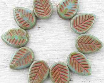 17x12mm Opaque Turquoise Picasso with Rusty Red Wash Czech Glass Leaf Beads - Qty 10 (BS64)