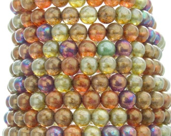 6mm Lumi Rainbow Mix Czech Glass Round Beads - Qty 30 (AW33)