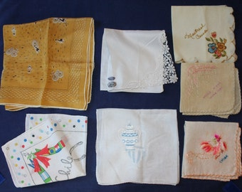 Vintage Box Lot of 7 Handkerchiefs. Some Souenir, China, Great Wall, Montreal