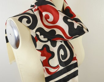 Vintage GIMBELS Scarf Funky Red White and Black Graphic Long and Narrow Made in ITALY