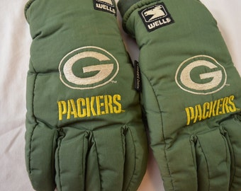 Vintage GREEN BAY PACKERS winter gloves Wells Lamont sz. Large 1980's