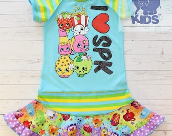 I heart SPK - a dress made out of authentic SHOPKINS tshirt super cool funky recycled upcycled  pieced  size 8(other sizes also available )