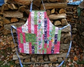 Bright Pastels Reversible Strip Pieced Bib Apron