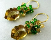 BIGGEST SALE EVER Carved Smoky Quartz and Chrome Diopside Cluster Earrings