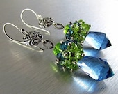BIGGEST SALE EVER London Blue Quartz, London Blue Topaz and Peridot and Vesuvianite Cluster Sterling Silver Earrings