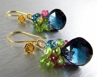 25% Off Summer Sale London Blue Quartz with Peridot And Pink Quartz Cluster Gemstone Earrings