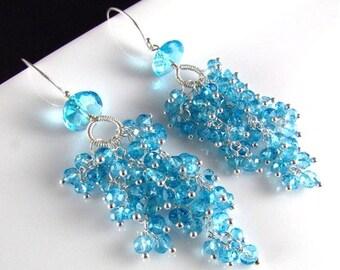 25% Off Summer Sale Sky Blue Quartz Sterling Silver Cluster Earrings, Waterfall Earrings
