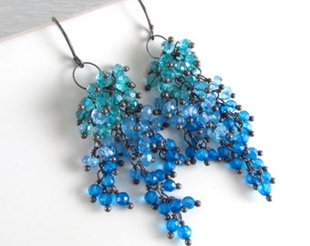 Apatite And Quartz Sterling Silver Cluster Earrings - Waterfall