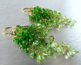 20 % Off Chrome Diopside With Green Amethyst and Light Green Quartz, Green Ombre , Cluster Waterfall Earrings