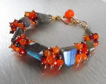 Chunky Labradorite Bracelet With Carnelian And Garnet