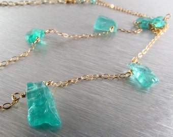 Apatite Nugget and Gold Filled Necklace