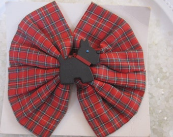 Rare vintage barrette plaid hair bow, scootie dog barrette, unused, vitnage 1980 hair accessory