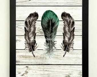 Feather Art Print, Modern Tribal Art, Feather Printable, 8x10 Instant Download, Modern Wall Decor, Black Green Feather Art, Boho Decor