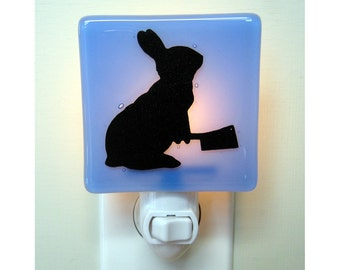 Funny Bunny Glass Night Light, Hand Painted Fused Glass Rabbit