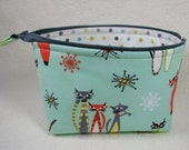 Open Wide Flat Bottom Zipper Pouch... Atomic Tabbys