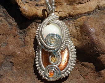 SALE!! Welo Opal, Imperial Topaz, Sunstone and Sterling Silver Wire Wrapped Pendant ~Genuine Gemstones, Wearable Art, Festival Fashion