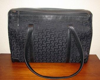 S*A*L*E* 1970s Black on Black Signature Logo Jacquard Designer Inspired Shoulder Bag