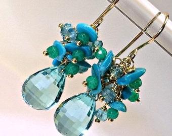25% SALE Aqua Earrings Turquoise Cluster Earring Wire Wrap Chrysoprase Gemstone Cluster 14kt Gold Fill Teardrop Earring Seafoam Mint Chrysop