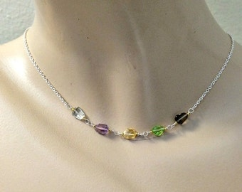 CUPID SALE xOx Pastel Gemstone Necklace Dainty Gemstone Choker Delicate Layering Necklace Sterling Silver 14k Gold Fill Chain Multicolor Jew