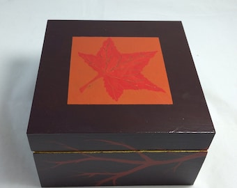 Leaf Box - Original Acrylic Painting on Wood Box