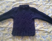 Handknit Pure Wool Cable Pattern Sweater. Vintage Style for your Toddler or Preschooler. Size 3 Au.