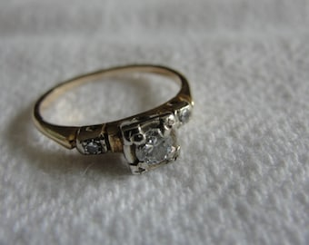 Antique 1/4 c  diamond  and 14k white and yellow gold size 6