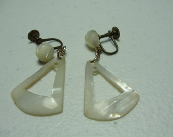 vintage mother of pearl earrings  1940