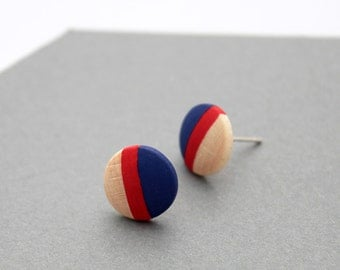 Nautical geomeric wooden stud earrings - navy blue, red natural wood - minimalist, modern jewelry