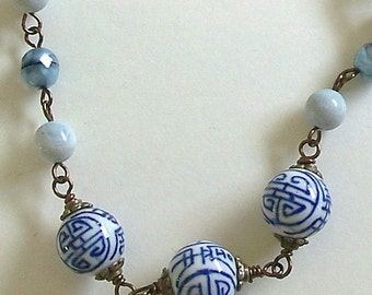 Blue and White Chinese Ceramic Beads with Light Blue Beads and Antique Bronze Wire Wrapped Links Necklace by CarolWilson of Je t'adorn