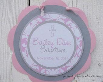 Baptism Decorations, Damask Baptism Decor, Baptism Decor, Baptism DOOR SIGN, You Choose The Colors