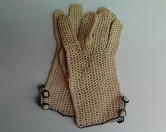Vintage Ivory Crocheted Gloves with Navy Trim and Buttons