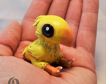 Handmade Baby Chocobo Chick Polymer Clay Final Fantasy Figurine