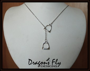 Stirrup Y Necklace Equine Jewelry Equine Stirrup Pendant Sterling Silver English Stirrup Necklace Equestrian Lariat Necklace Made in USA