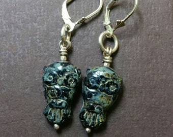 Hoot Owl Earrings - Sterling Silver and Picasso Czech Glass - Handmade