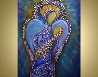 ANGELS Painting Mother's Love Abstract Icon Religious Painting Original Contemporsry Wall Art by Luiza Vizoli