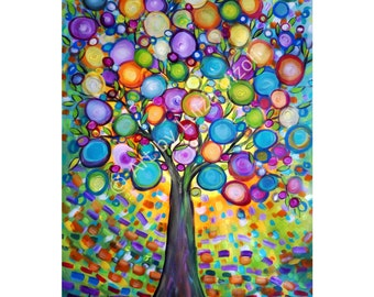 Original Large Painting Whimsical Tree Happy Moments 52x30 Ready to Hang , ready to Ship