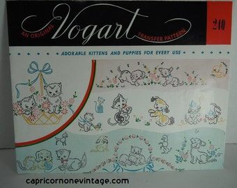 Vintage 1950s Vogart Transfer Pattern 240 Adorable Kittens and Puppies For Everyday Use Cats Dogs Flowers Embroidery Crafting