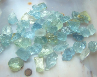 Aquamarine crystals by the gram - naturally raw rough- wire wrap stone - Green Blue Beryl - lot of specimens natural bulk from africa bag8Ai